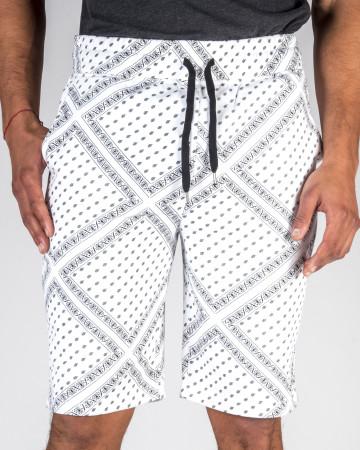 Bandana Print Knit Short - White front